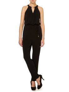 Sleeveless jumpsuit with gold hardware