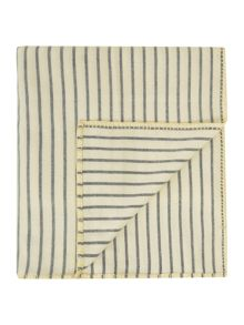 Blue stripe blanket with yellow border stitch