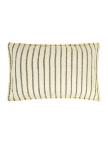 Blue stripe cushion with yellow border stitch