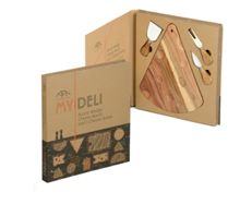 Acacia wedge cheese board/knife set