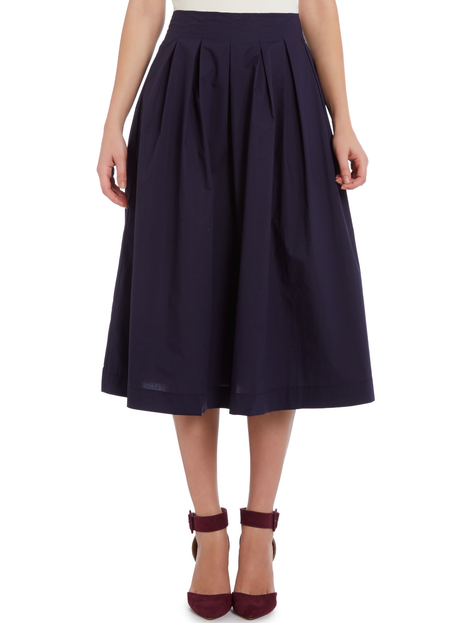 High Waist Pleat Midi Skirt