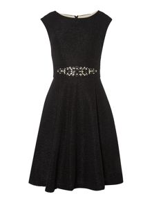 Fit and Flare dress with beaded waist