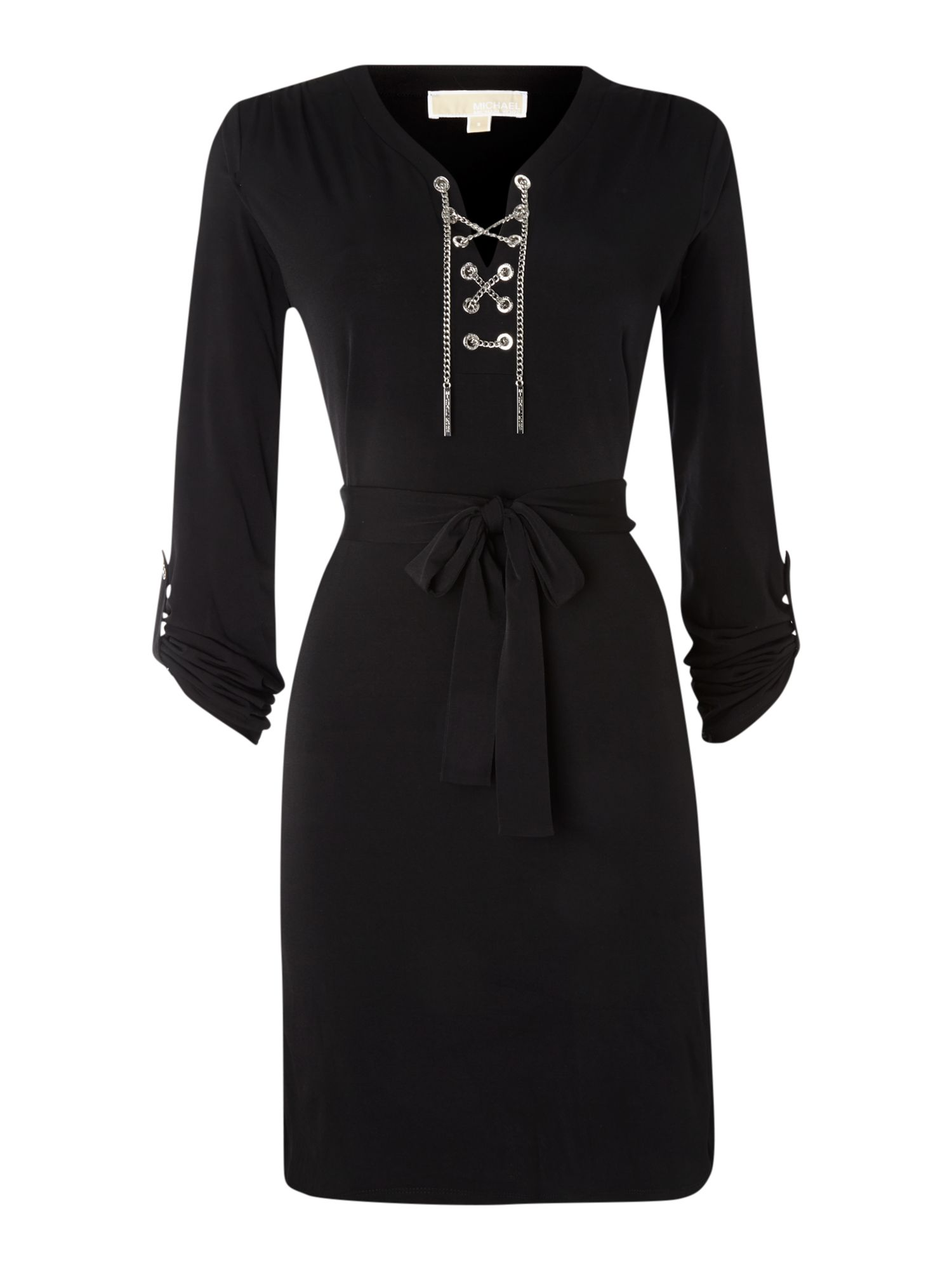 Long sleeved chain tie neck dress
