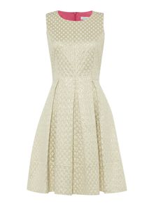 Jacquard dress with box pleats