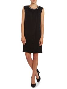 Sleeveless silk dress with chain neck detail