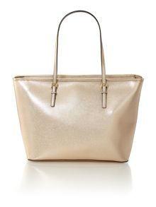 Jet Set Travel gold shoulder tote bag