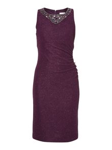 Side gathered shift dress with beaded neckline