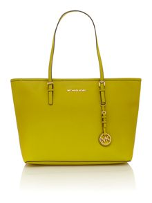 Jet Set Travel green shoulder tote bag