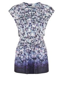 Floral Ombre Pintuck Blouse