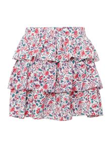 Girls ditsy floral tiered skirt