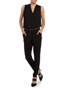 Sleeveless belted jumpsuit with rhinestone finish