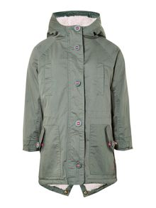 Girls classic parka jacket with sherpha lining