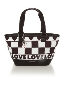 Black and white medium tote bag