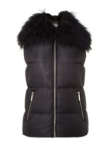 Padded gilet with faux fur collar