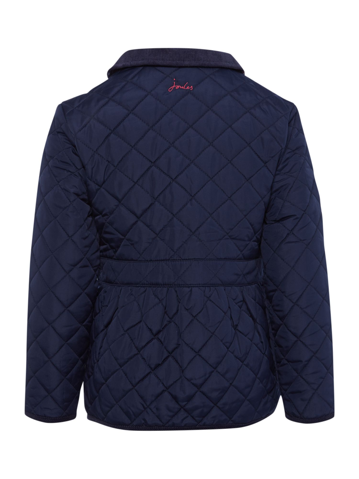 Girls classic quilted jacket with ditsy lining