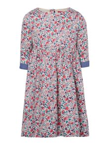 Girls floral dress with turn up sleeve