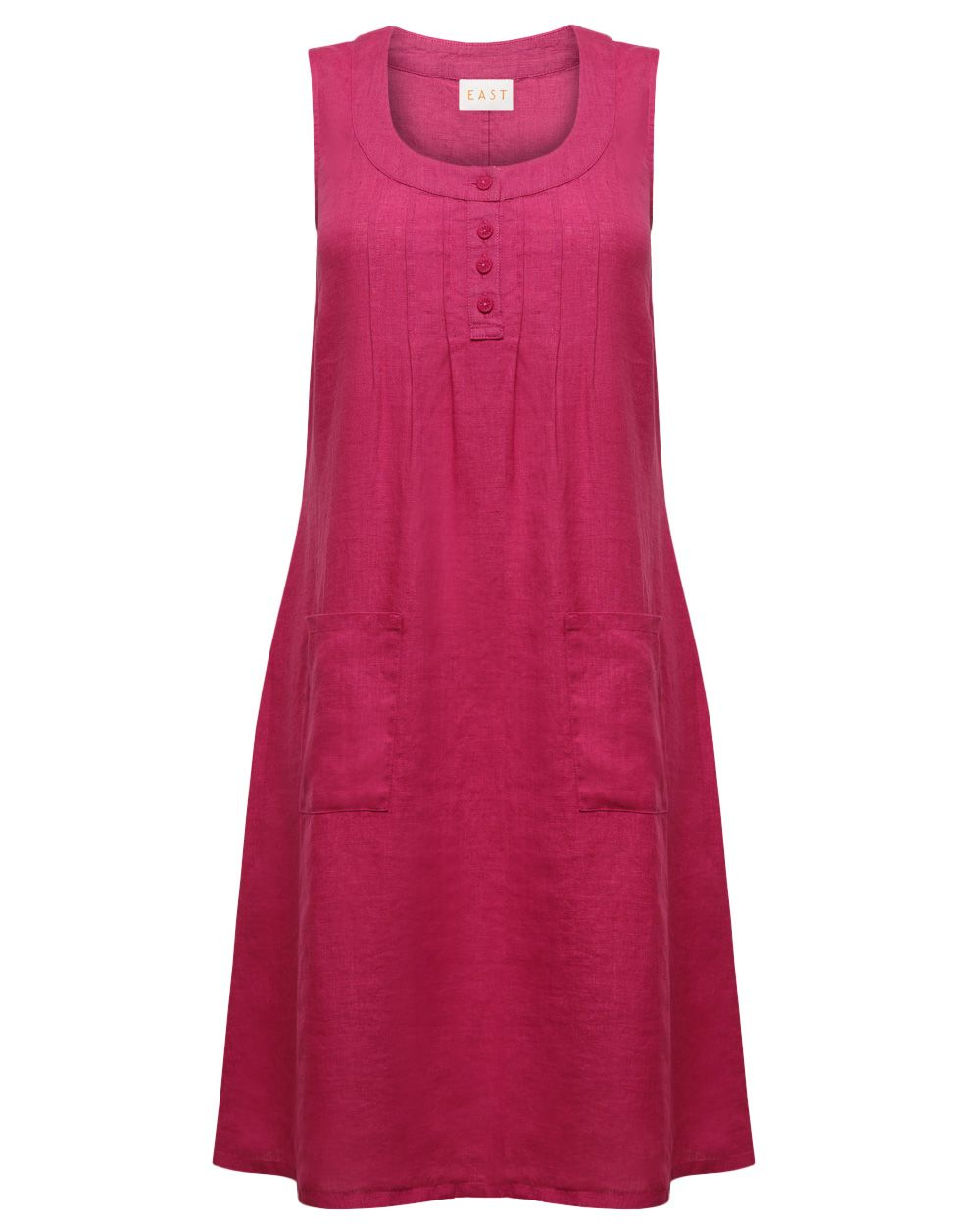 Pintuck Button Linen Dress