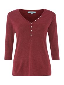 Henley 3/4 length sleeve top