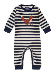 Baby boys fox applique striped all in one
