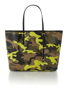 Jet Set Travel yellow camo tote bag