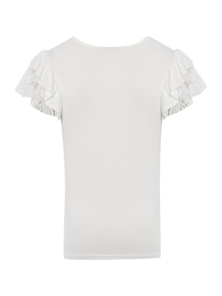 Angel's Face Girls Frill Sleeve T-Shirt With Diamante Logo