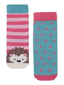 Girls 2 pack hedgehog sock