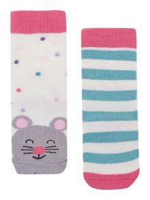 Girls 2 pack mouse socks