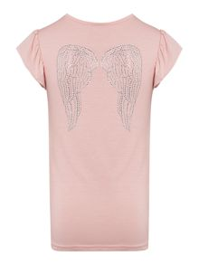 Angel's Face Girls t-shirt with diamante wings to back