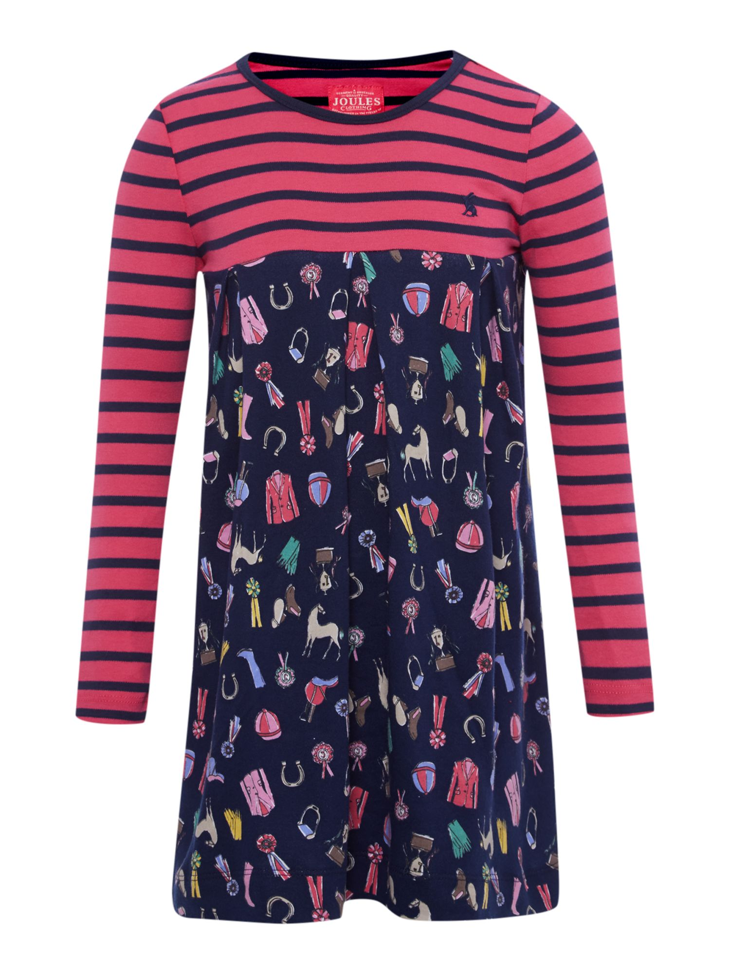 Girls horse print dress with striped top