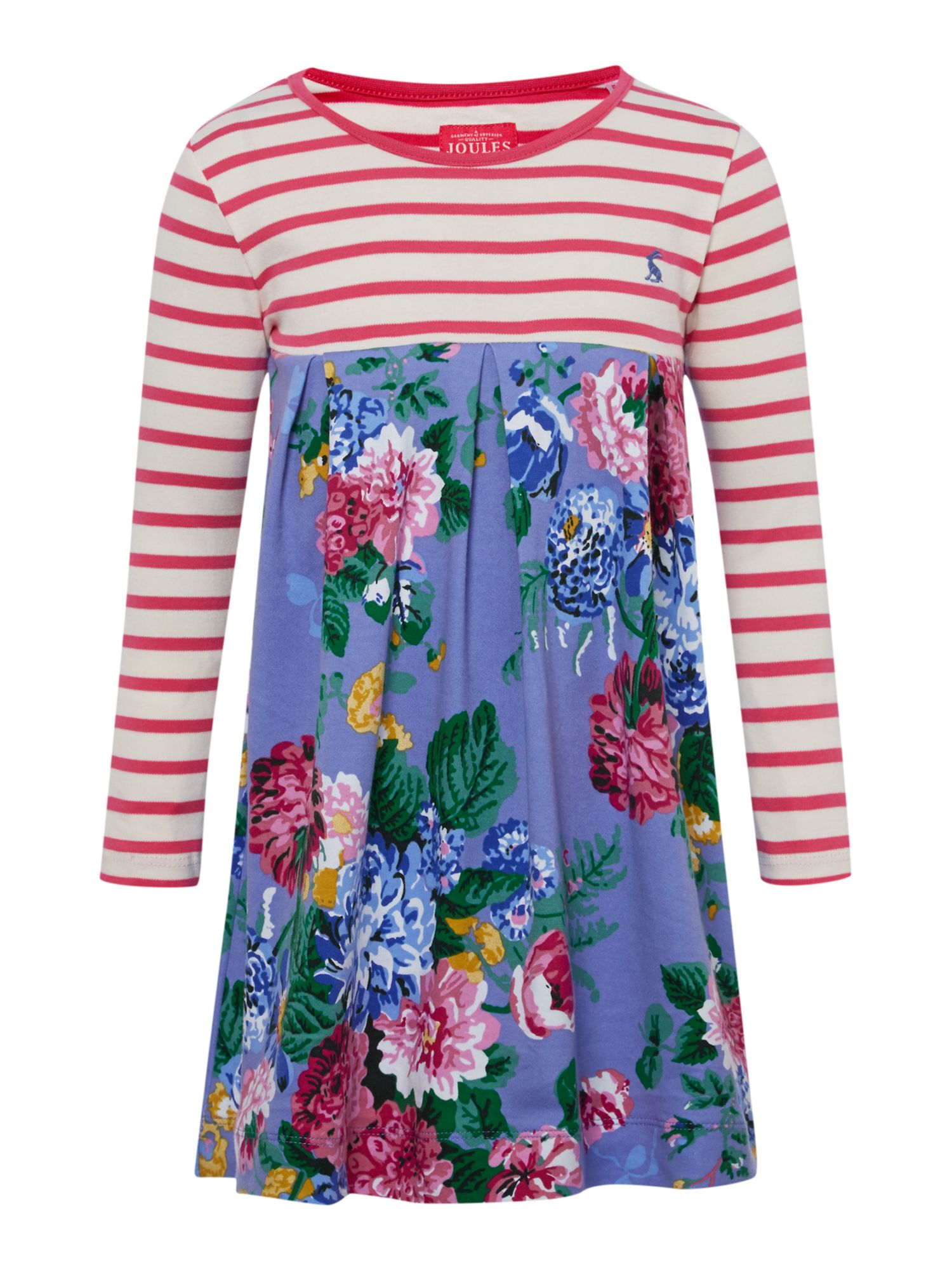 Girls floral print dress with striped top