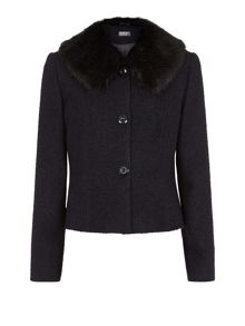 Textured fur collar jacket