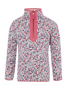 Girls funnel neck floral sweatshirt