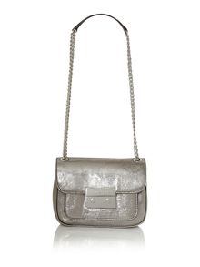 Sloan metallic small flap over cross body bag