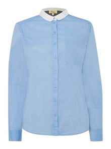 Relaxed contrast collar shirt