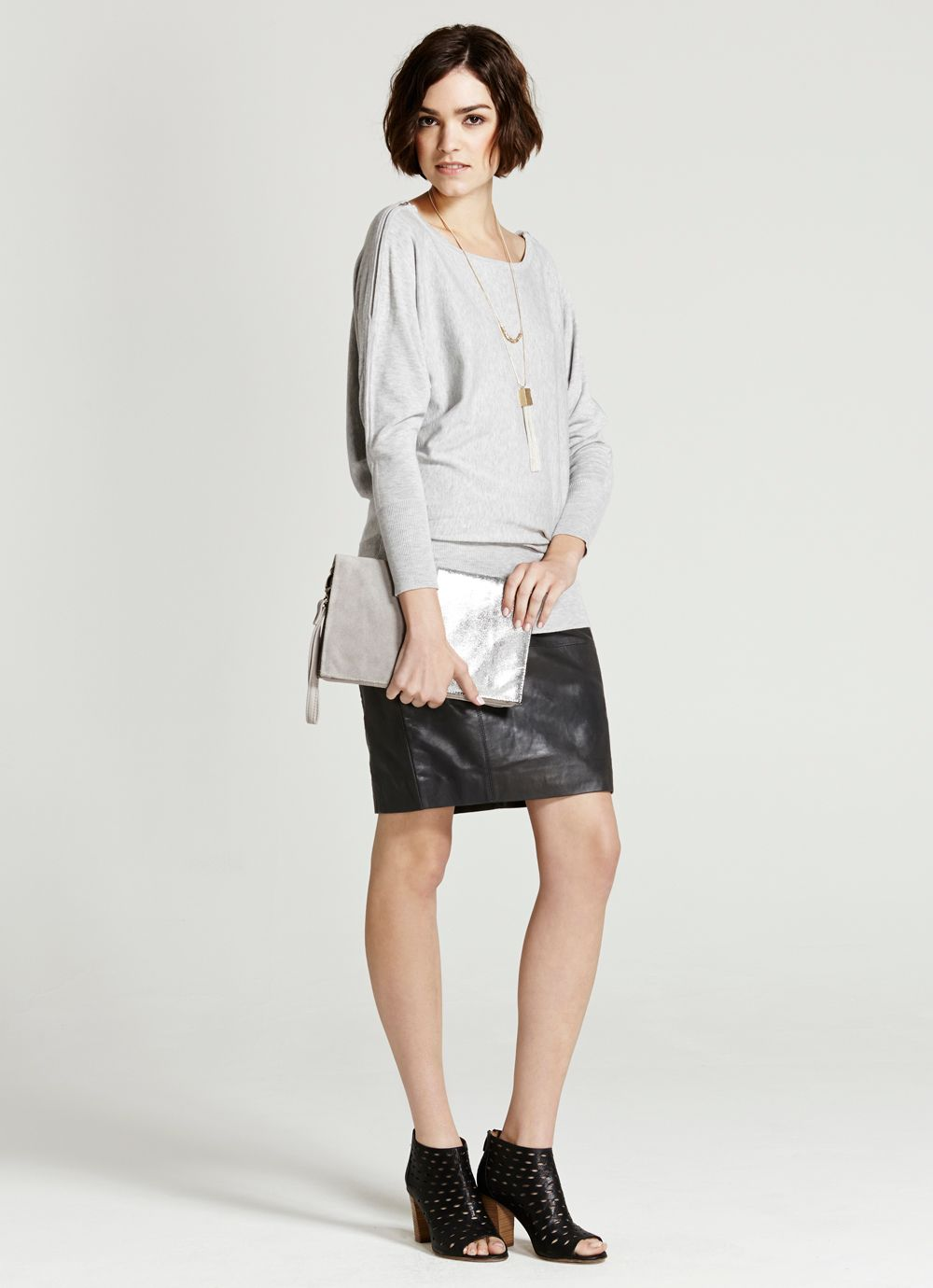 Grey Zip Shoulder Batwing Knit