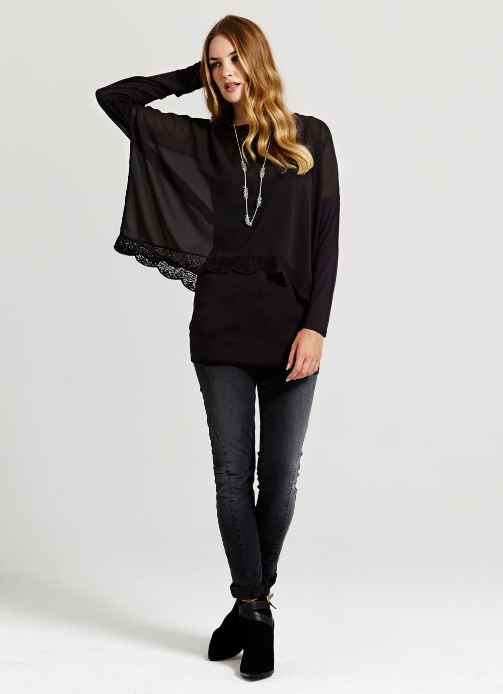 Black Lace Edge Double Layer Top