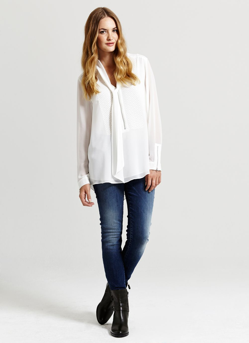 Ivory Lace Panel Blouse