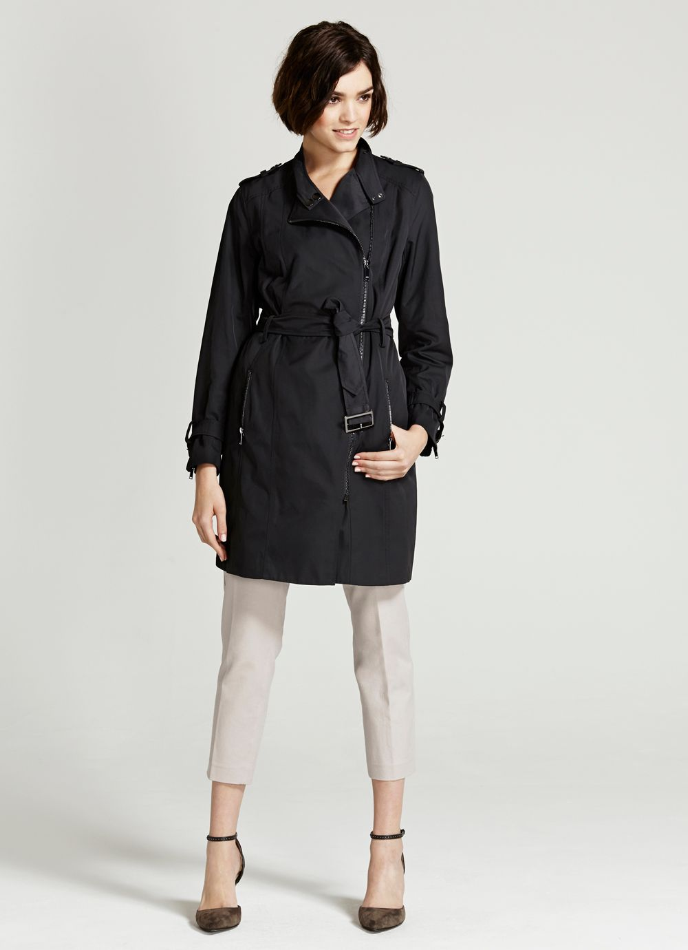 Graphite Biker Trench Coat