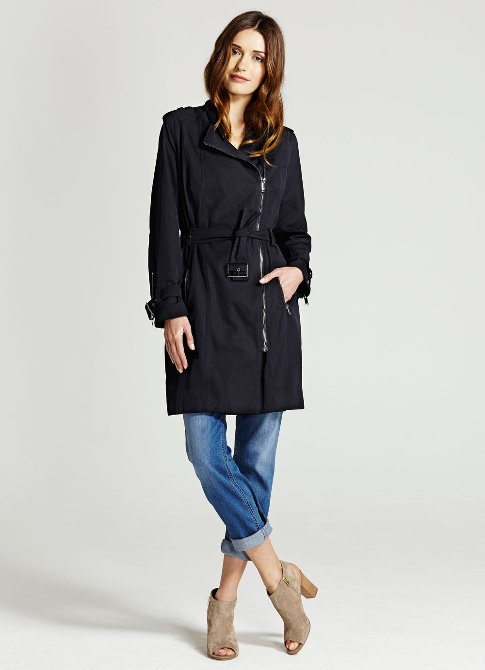 Navy Biker Trench Coat