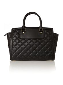 Selma zip quilt black large tote bag
