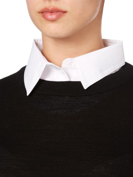 Linea White shirt detail jumper