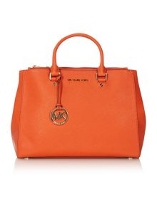 Sutton orange large square tote bag