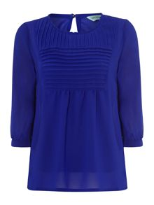 Top plain pleat front blouse