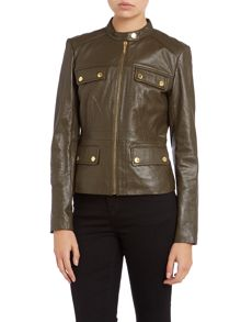Long sleeved waisted leather jacket