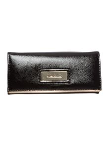 Black patent large flapover purse
