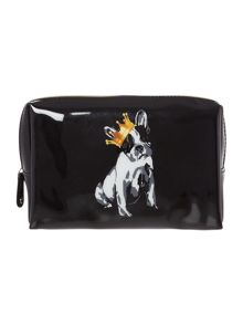 Black cotton dog large cosmetics bag