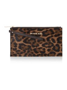 Bedford leopard zip clutch