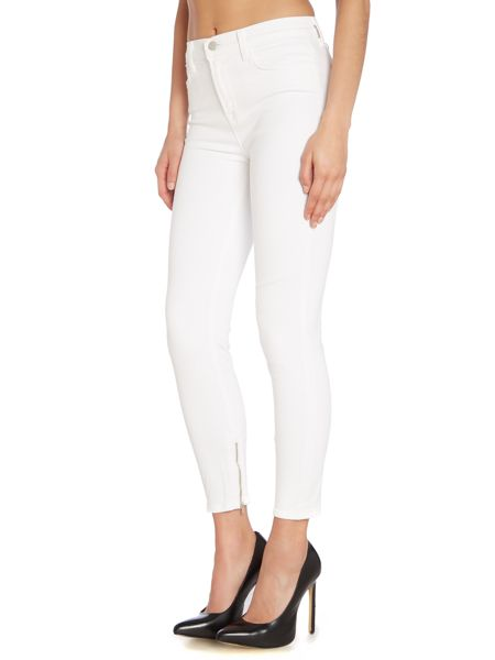 J Brand Hanna high rise skinny jeans with zips in blanc