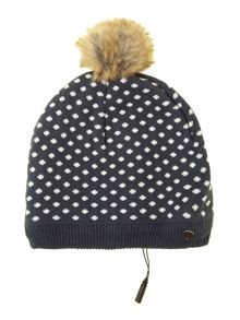 Polka dot knit audio beanie