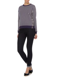 Luxe Pinstripe Zip Sweater